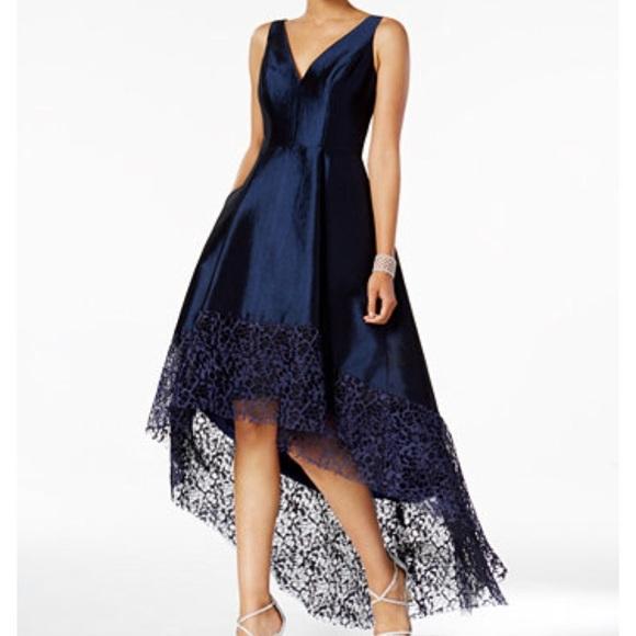 391574d40d Black Betsy Adam Lace Trim High Low Gown